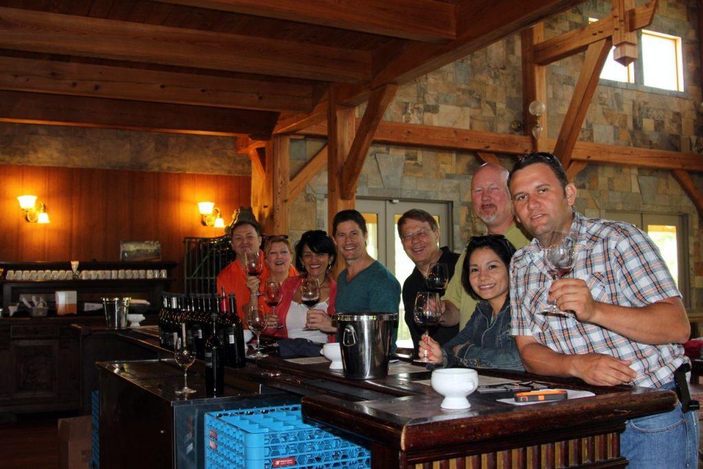 group shot at wine tasting